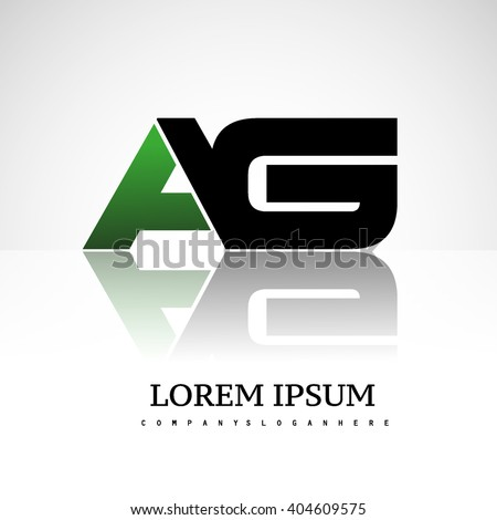 AG company linked letter logo icon green and black - stock vector