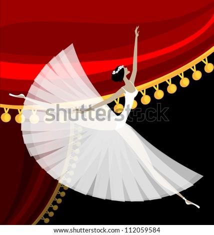 Against Red Curtain Dancing White Ballet Dancer