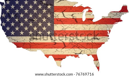 Aged american flag vector illustration - stock vector