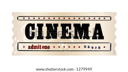 Aged cinema ticket with an ornament. All elements are separable. Also available: a raster version.