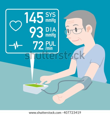 aged man who measures his blood pressure by electric blood pressure monitor, high blood pressure, medical and health care, vector illustration - stock vector