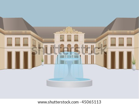 Aged mansion with fountain