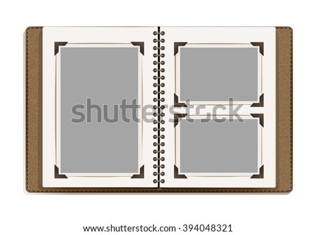 aged open photo album blank pages - stock vector