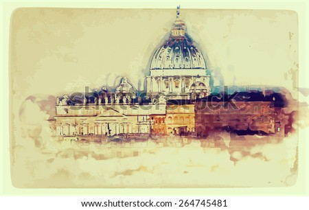 Aged painting of St. Peter's cathedral in Rome, Italy - stock vector