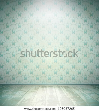 Aged room with floral wallpaper - stock vector