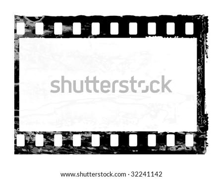 Aged vector illustration of a grunge filmstrip frame. - stock vector