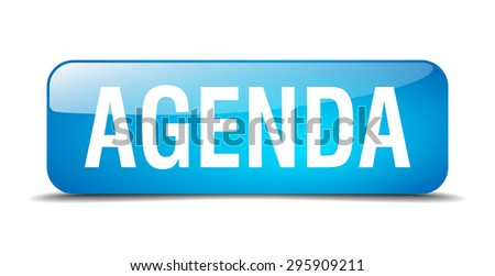 agenda blue square 3d realistic isolated web button - stock vector
