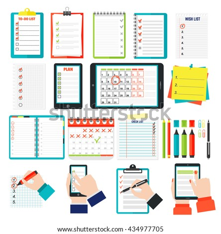 Agenda list concept vector illustration. Business concept with paper agenda, pen, phone, clipboard in flat style. Agenda wall calendar, self-adhesive notes, color marker, clips, hand article agenda. - stock vector