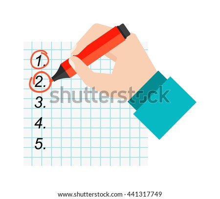 Agenda list icon vector illustration. Business concept with paper agenda document flat style. Agenda calendar, self-adhesive notes, color marker, article agenda. - stock vector