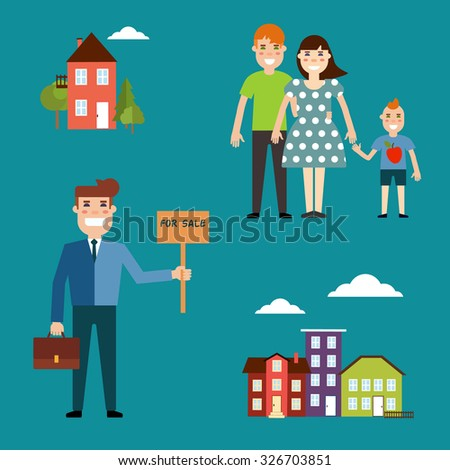 Agent for the sale of real estate or a home buyer holding a portfolio and a sign saying the sale of real estate, take couple with child to buy or rent a house