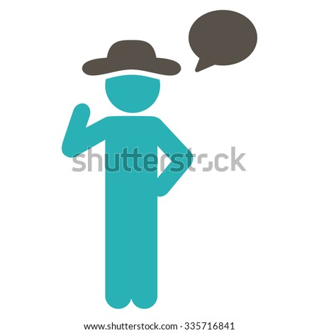 Agent Speech vector icon. Style is bicolor flat symbol, grey and cyan colors, rounded angles, white background. - stock vector