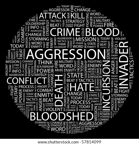 AGGRESSION. Word collage on black background. Illustration with different association terms.