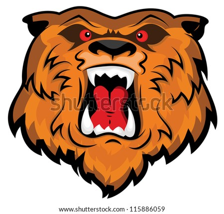 Aggressive and Angry Bear Head Mascot - stock vector