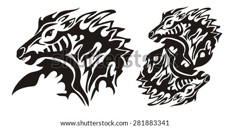 Aggressive flaming horse. Tribal horse head and double horse sing ready for vinyl cutting - stock vector