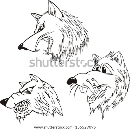 Aggressive wolf heads. Set of black and white vector tattoo designs. - stock vector