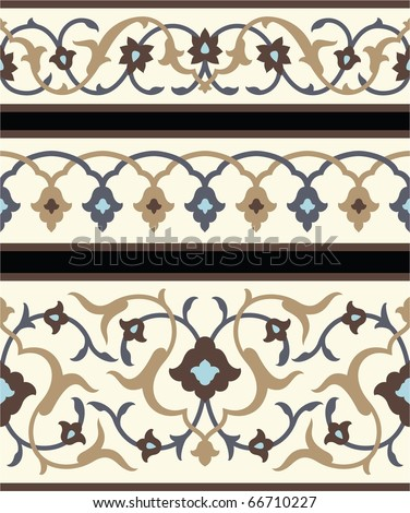 Agra Floral Borders - stock vector