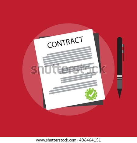 Agreement and signature, pact, accord, convention symbol. Contract concept icons.  - stock vector