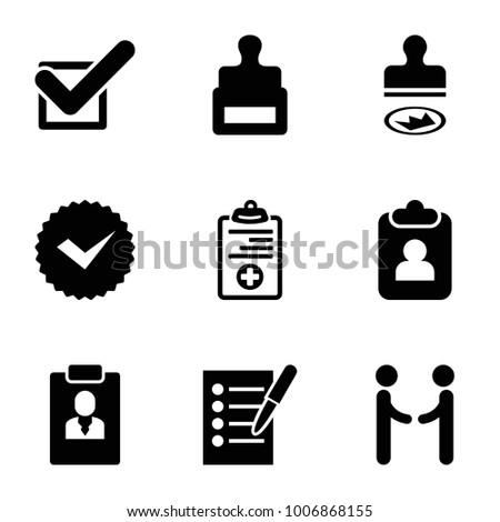 Agreement icons. set of 9 editable filled agreement icons such as stamp, clipboard, medical clipboard, tick, shaking hands