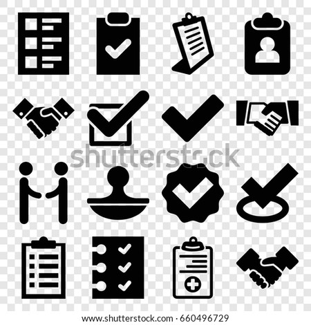 Agreement icons set. set of 16 agreement filled icons such as clipboard, tick, medical clipboard, checklist, stamp, handshake