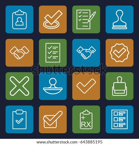 Agreement icons set. set of 16 agreement outline icons such as stamp, check list, tick, clipboard, checklist, handshake