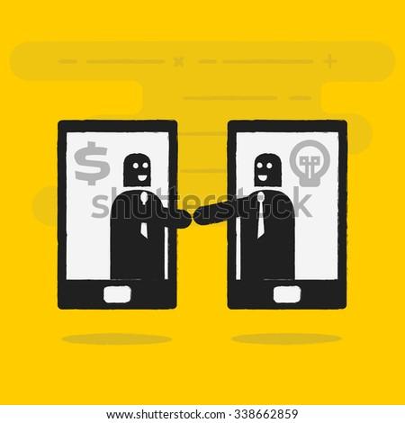 Agreement on smart phone - stock vector