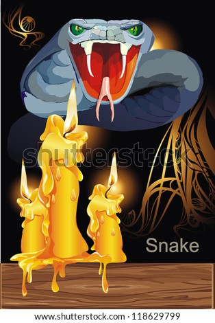 Agressive Poisonous snake. Halloween Set - vector illustration - stock vector