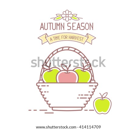 Agribusiness. Vector illustration of wicker basket filled with red and green tasty apple fruits on white background. Harvest time. Autumn season. Thin line art flat design of apple for farming theme - stock vector