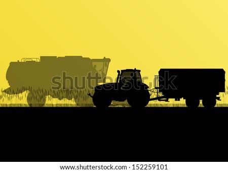 Agricultural combine harvester and tractor in grain field seasonal farming landscape scene illustration background vector - stock vector