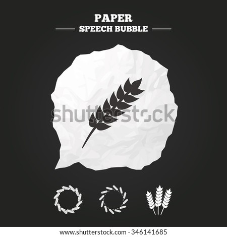 Agricultural icons. Gluten free or No gluten signs. Wreath of Wheat corn symbol. Paper speech bubble with icon. - stock vector