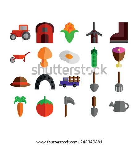 Agricultural Icons Set - stock vector
