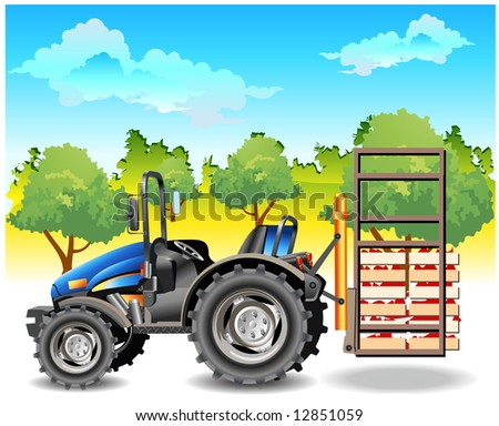 Agricultural machine, tractor in dark blue color, on field, vector an illustration - stock vector