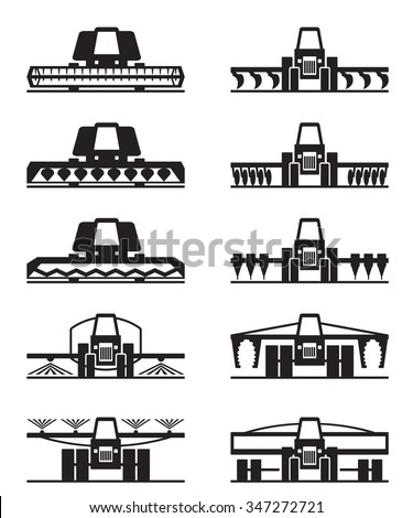 Agricultural machinery icon set - vector illustration - stock vector