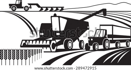 Agricultural machinery in the field - vector illustration - stock vector