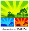 Agricultural machinery, tractor, combine, lorry in field - stock vector