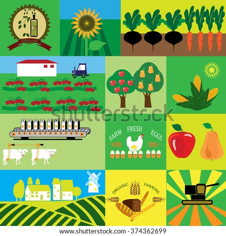 Agricultural production. Icons for organic milk, farm fresh products, locally grown and organic food. - stock vector