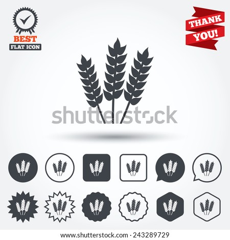 Agricultural sign icon. Gluten free or No gluten symbol. Circle, star, speech bubble and square buttons. Award medal with check mark. Thank you ribbon. Vector - stock vector