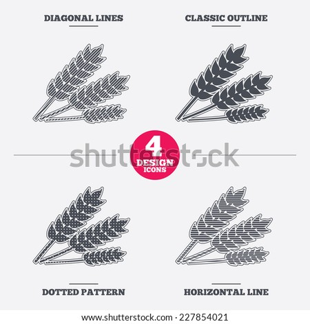 Agricultural sign icon. Gluten free or No gluten symbol. Diagonal and horizontal lines, classic outline, dotted texture. Pattern design icons.  Vector - stock vector