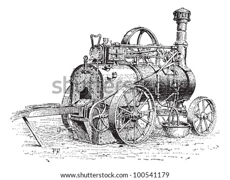 Agricultural Traction Engine, shown being used to burn straw, vintage engraved illustration. Dictionary of Words and Things - Larive and Fleury - 1895 - stock vector