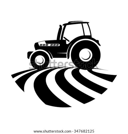 Agricultural tractor in a field - stock vector