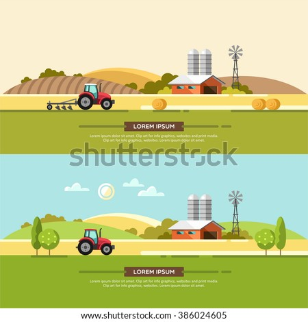 Agriculture and Farming. Agribusiness. Rural landscape. Design elements for info graphic, websites and print media. Vector illustration. - stock vector