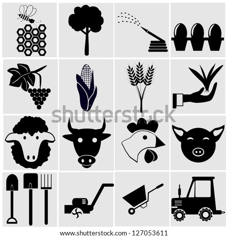 Agriculture and farming icons.A vector illustration - stock vector