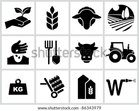 Agriculture and farming icons. All white areas are cut away from icons and black areas merged. - stock vector