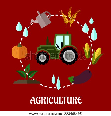Agriculture flat infographic concept with cartoon tractor and a circle of various crops, water, tractor, farm and a watering can - stock vector
