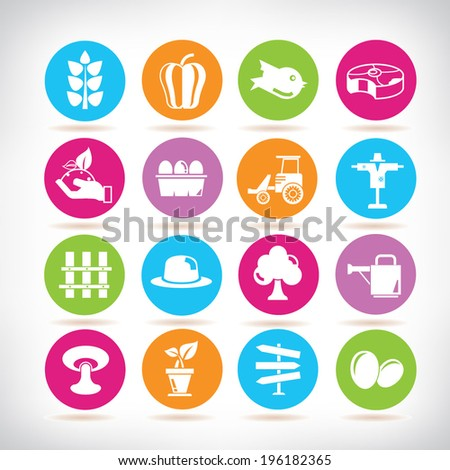 agriculture icons set, farm color buttons