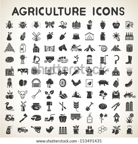 agriculture icons set, vector