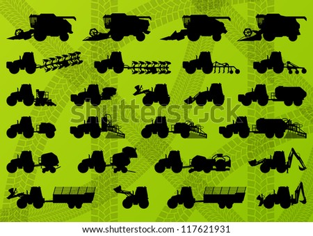 Agriculture industrial farming equipment tractors, trucks, harvesters, combines and excavators detailed silhouettes illustration collection  background vector - stock vector
