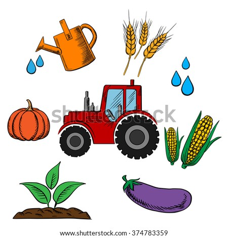 Agriculture industry and farming food icons with cartoon tractor and a circle of pumpkin, wheat, corn cobs, eggplant, water drops, farm and watering can - stock vector