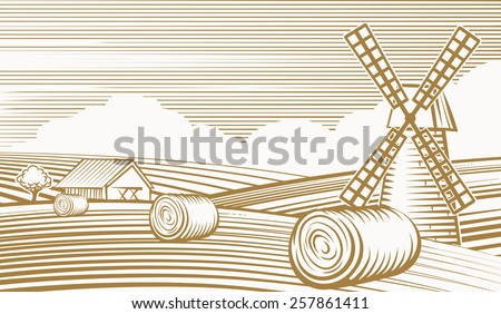 Agriculture landscape with mill and barn. Fields and nature, line art and grunge. Vector illustration - stock vector