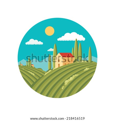 Agriculture landscape with vineyard. Vector abstract illustration in flat style design. Vector logo template. Italian Tuscany landscape with rolling hills and valleys. Organic product logo. - stock vector