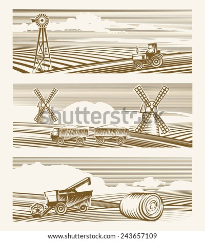 Agriculture landscapes. Set of sketches or engraving harvest with appliances. Vector illustration - stock vector